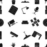 Office furniture and interior pattern icons in black style. Big collection of office furniture and interior vector Stock Photo