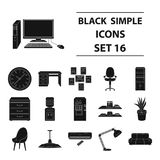 Office furniture and interior set icons in black style. Big collection of office furniture and interior vector symbol Royalty Free Stock Image