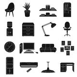 Office furniture and interior set icons in black style. Big collection of office furniture and interior vector symbol Stock Photo