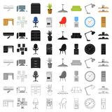 Office furniture and interior set icons in cartoon style. Big collection of office furniture and interior vector symbol Royalty Free Stock Photo
