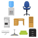 Office furniture and interior set icons in cartoon style. Big collection of office furniture and interior vector symbol Royalty Free Stock Photos