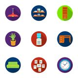 Office furniture and interior set icons in flat style. Big collection of office furniture  Stock Photo