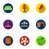 Office furniture and interior set icons in flat style. Big collection of office furniture and interior vector symbol Stock Photos