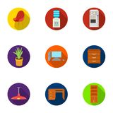 Office furniture and interior set icons in flat style. Big collection of office furniture and interior vector symbol Royalty Free Stock Photography