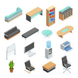 Office Furniture Isometric Icons Set Stock Photos
