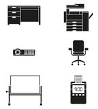 Office Furniture and Machine Icon Set Stock Photo