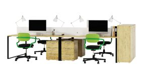 Office furniture is ruled on a white background. Office space. Design of office. 3D rendering Stock Images