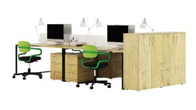 Office furniture is ruled on a white background. Office space. Design of office. 3D rendering Royalty Free Stock Images