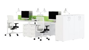 Office furniture is ruled on a white background. Office space. Design of office. 3D rendering Stock Photo