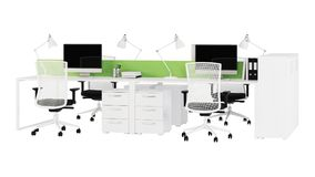 Office furniture is ruled on a white background. Office space. Design of office. 3D rendering Royalty Free Stock Image