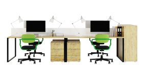 Office furniture is ruled on a white background. Office space. Design of office. 3D rendering Stock Image