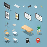 Office furniture set. Isometric office furniture and computer set. Detailed objects. Collection includes mid century table, chair, painting, picture, board, lamp Stock Photo