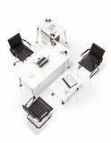 Office furniture on a white background top view Royalty Free Stock Photography