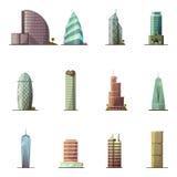 office gebouwen De historische en moderne wereld bezocht het meest beroemde distinctieve gebouwen vector illustratie