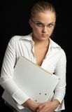 Office girl. In white blouse Royalty Free Stock Photography