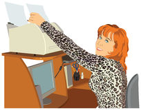 Office girl. The vector depiction of a young, red-haired office girl Stock Photo