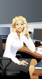 Office girl. Beatiful girl in the office. Vector Stock Images