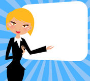 Office girl and banner Royalty Free Stock Images
