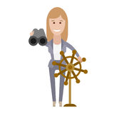 Office girl with binoculars at the helm Royalty Free Stock Photos