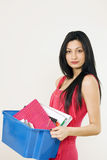 Office girl with box of documents Royalty Free Stock Photography