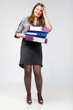 Office Girl With Documents. Royalty Free Stock Photos