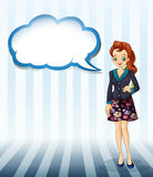 An office girl with an empty cloud template Stock Image