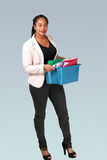 Office girl with file-box Royalty Free Stock Photography
