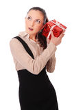 Office girl with gift Stock Image