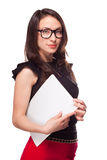 Office girl holding empty paper blank template Royalty Free Stock Photo