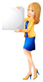 An office girl holding an empty signboard Royalty Free Stock Photo