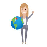 Office girl holding a globe Stock Image
