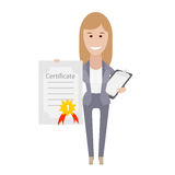 Office girl holds certificate Royalty Free Stock Photography