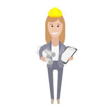 Office girl holds construction drawings Stock Photography