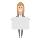 Office girl holds a presentation card Royalty Free Stock Photos