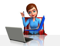 Office girl with laptop Stock Photo