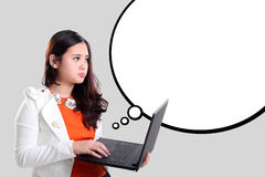 Office girl looking at white comic bubble stock illustration