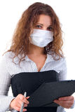 Office Girl In Medicine Mask. Stock Photos
