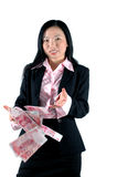 Office girl with money. Chinese office girl wearing suit, throwing money - RMB Royalty Free Stock Photo