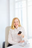 Office Girl With Phone Royalty Free Stock Photo