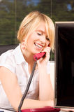 Office girl. Picture of lovely girl with phone in office Royalty Free Stock Image