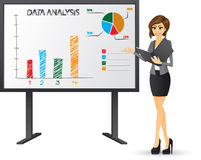 Office girl presenting with presentation board. Illustration of office girl presenting with folder and presentation board.White background.Contain gradient royalty free illustration