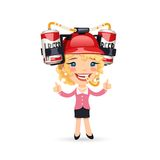 Office Girl with Red Beer Helmet on Her Head Royalty Free Stock Photography