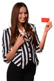 Office girl showing card isolated on a white background Royalty Free Stock Photos