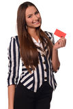 Office girl showing card isolated on a white background Stock Photography