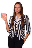 Office girl showing card  on a white background Stock Image