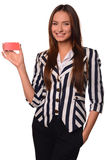 Office girl showing card  on a white background Stock Photo