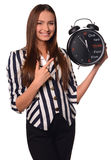 Office girl showing clock isolated on a white background Royalty Free Stock Photo