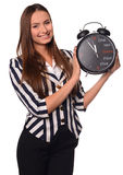 Office girl showing clock isolated on a white background Stock Photos