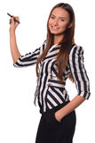 Office girl showing pen isolated on a white background Stock Photos
