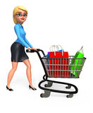 Office girl with trolley and shopping bags Royalty Free Stock Photography